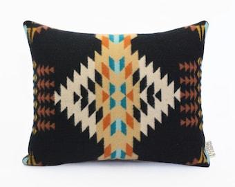 Geometric Wool Pillow // Rancho Arroyo Black / cream / turquoise / ochre / blue