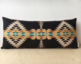 Rancho Arroyo Black Lumbar // Geometric Wool Pillow