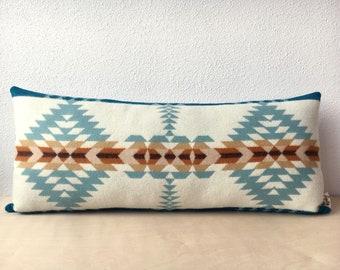 Rancho Arroyo Aqua Lumbar // Geometric Wool Pillow