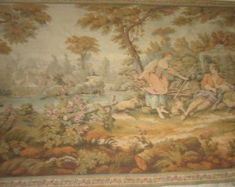 Beautiful old tapestry, gallant country in the 18th century spirit