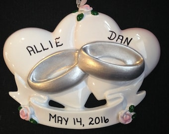 Wedding Hearts and Rings Personalized Christmas Ornaments / Gifts for Newly Weds / Just Married
