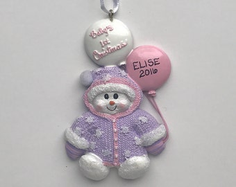Baby's First Christmas / Personalized Christmas Ornaments / Baby Girl / Snowman with Balloons