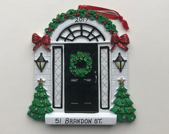 House Personalized Christmas Ornaments / New Home Ornament / First Home / Front Door / Realtor Gifts / Black Front Door