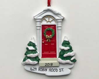 House Personalized Christmas Ornaments / New Home Ornament / First Home / Front Door / Realtor Gifts / Red Front Door