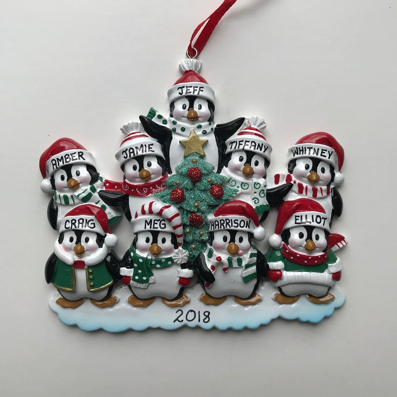Personalized Penguin Family of 9 Christmas Ornament
