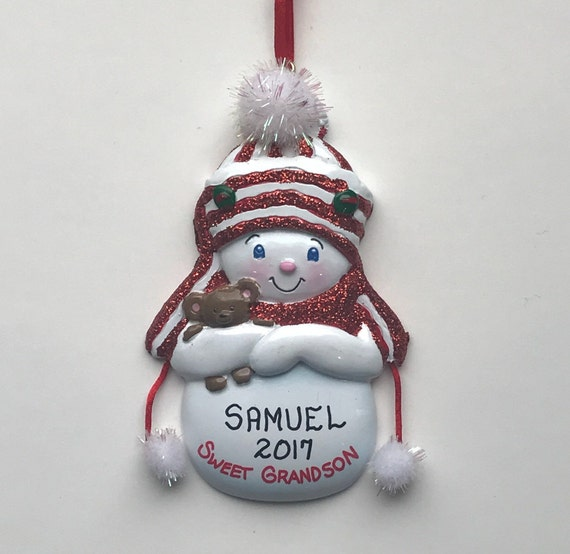 image 0 - Snowman Grandson Personalized Christmas Ornament Sweet Etsy