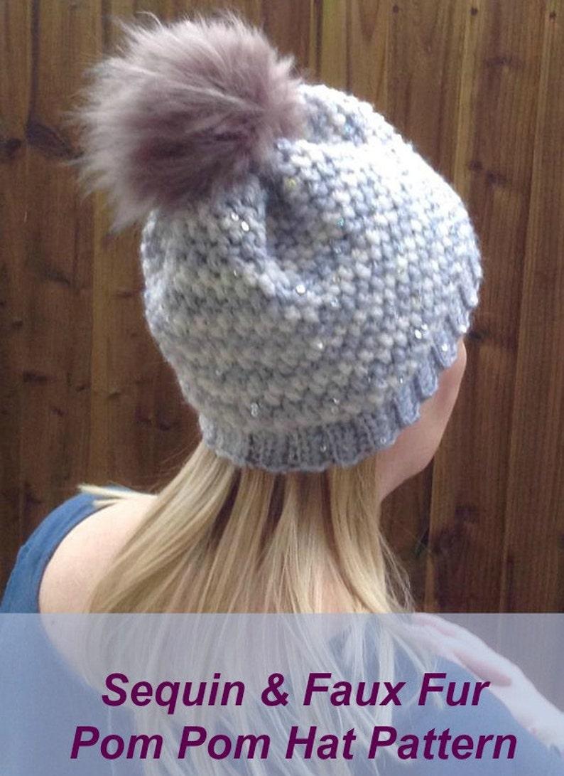 2dc58b946fa Faux fur Pom Pom hat-sequin yarn hat-Pom Pom hat-faux fur
