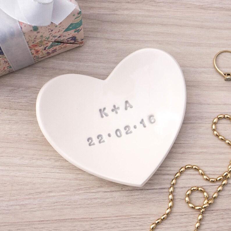 Personalised Heart Wedding Ring Dish