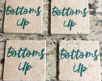 """Travertine Stone Coasters - """"Bottoms Up"""" Agave Blue (Set of Four)"""
