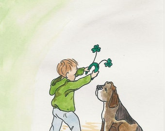 St Patricks Day Card - pen&ink and watercolor