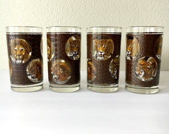 Vintage Zoo Animal Print Glassware - Set of 4 / Jungle Animal Drinking Glasses / Barware