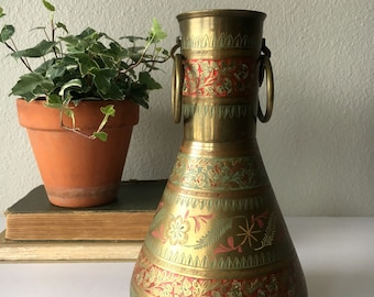 Large Vintage Indian Brass Vase with Ring Handles / Etched and Painted Ornamental Vase / Decorative Gold Vase
