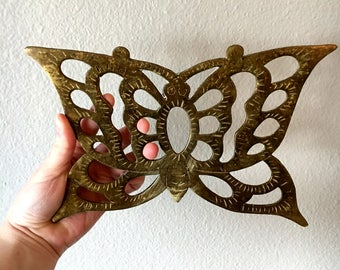 Vintage Brass Butterfly Trivet / Solid Brass Pot Holder / Butterfly Wall Hanging