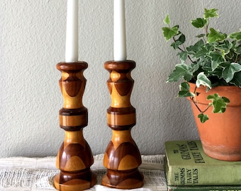 Vintage Two-Tone Wood Candlestick Holders / Handcrafted Pair of Candle Holders