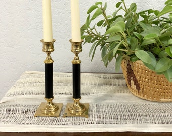 Eclectic Pair of Vintage Solid Brass and Black Candlesticks / Set of 2 Brass Candle Holders / Patina Brass Candle Sticks
