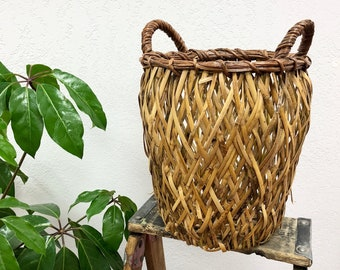 Large Vintage Woven Rattan Basket with Handles / Open Weave Wicker Basket / Handwoven and Rustic