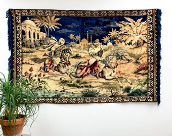Large 6' Vintage Turkish Tapestry with Men on Horses /  Beautiful Navy Blue Wall Hanging Kilim with Running Horses