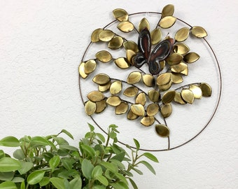 Vintage Brass Tree and Butterfly Wall Decor / Round Mixed Metal Wall Hanging / Retro Leaf Wall Art