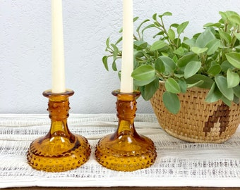 Vintage Pair of Hobnail Amber Glass Candle Holders / Gold Glass Candlestick Holders