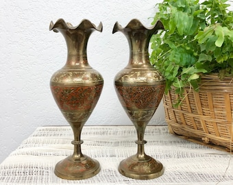 Beautiful Pair of Vintage Indian Brass Vases / Set of 2 Etched and Painted Ornamental Vases / Decorative Gold and Red Vases