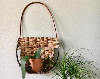 Unique Large Vintage Rattan Wall Hanging Pocket Basket / Wicker Wall Hanging Shelf Basket with Handle