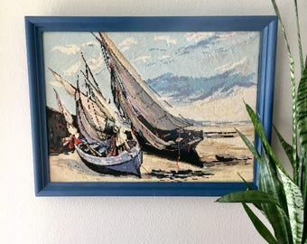Gorgeous Large Vintage Sailboat Cross Stitch Wall Hanging / Blue Framed Beach and Docked Sailboat Crewel Embroidery