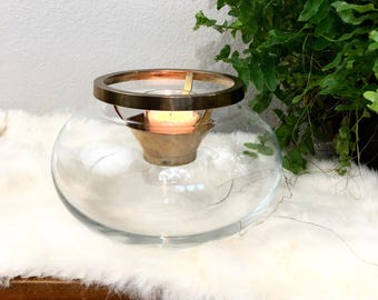 Unique Vintage Orb Glass and Brass Candle Holder / Round Apothecary Style Glass Votive Tealight Candle Holder