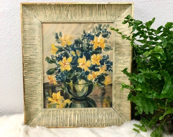 Beautiful Vintage Framed Floral Watercolor Painting / Yellow and Blue Flowers / Antique Wood Frame / Original Signed Art