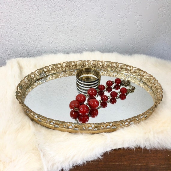 image 0 - Beautiful Vintage Mirrored Vanity Tray With Gold Filigree Trim Etsy