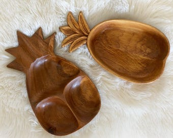 Vintage Wood Pineapple Shaped Bowls / Retro Tiki Pineapple Decor / Sold Separately