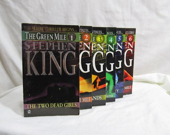 The Green Mile, Serial Thriller, 6 volumes, Stephen King, Signet 1996 Softcover First Edition, Mystery Suspense Novel Fiction