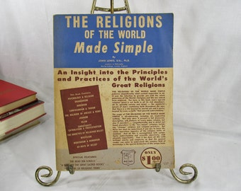 The Religions of the World Made Simple by John Lewis Garden City Book 1959 Softcover Religion, Brahamism, Buddhism, Islam, Christianity ++