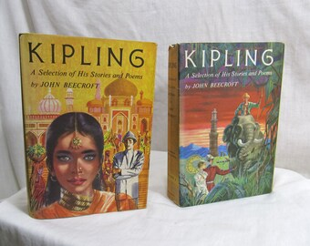 Kipling, A Selection of His Stories and Poems, Volume 1 and 2 John Beecroft, Doubleday 1956, Short Stories Poems Autobiography Book BCE