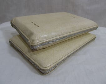 Holy Bible & Book Of Mormon circa 1960's in White Zippered Leatherette Case, Deseret Book Co Salt Lake City Utah Vintage Religious Book Set