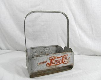 """SALE Pepsi Cola Holder """"Double Dot Logo"""" 1940's Vintage Metal Bottle Carrier Antique Drink Advertising Memorabilia"""