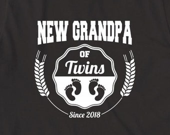 New Grandpa of Twins Since 2018 Shirt - grandpa, fathers day, christmas gift idea - ID: 2096