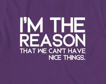 I'm The Reason That We Can't Have Nice Things Shirt, gift idea, funny shirt, humor, sarcasm, puns, punny - ID: 1696