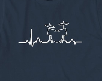 Drum Heart Shirt - gift idea for drummer, percussion, drums, rock band, musician - ID: 1892