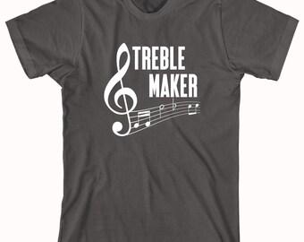 Treble Maker Shirt - music notes, gift idea for musician, band geek, trebel - ID: 343