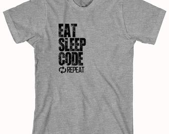 Eat Sleep Code Repeat Shirt - Gift Idea, Nerd, Coder, IT Support, Tech Support - ID: 842