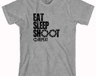 Eat Sleep Shoot Repeat (Camera) Shirt - Gift Idea for Photographer, Photos, Lens, Shutter, SLR, Digital Photography - ID: 835