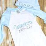 Baby boy monogrammed raglan gown baby blue and navy, baby boy take home outfit, monogrammed outfit - raglan gown and hat, baby shower gift