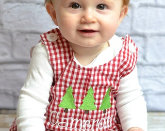 Personalized Baby Boy Christmas outfit - red gingham monogrammed Christmas overalls, baby boy monogrammed 1st Christmas outfit personalized