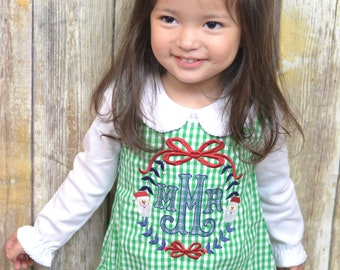 Girls monogrammed Christmas dress, jumper style toddler Christmas outfit with Santa Monogram design