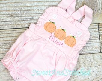 Monogrammed girls pumpkin outfit, girls pumpkin birthday bubble cake smash outfit, 1st birthday cake smash pumpkin outfit