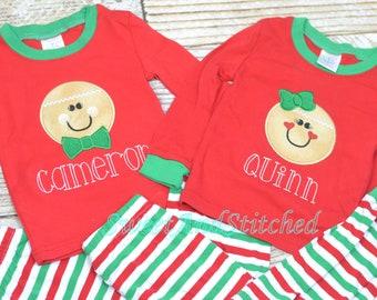Kids Christmas Pajamas with Gingerbread design, Christmas lights, cookies and milk OR name only, Family Christmas pajamas Christmas pjs