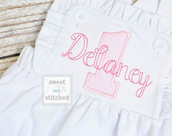 Monogrammed baby girl cake smash outfit with 1 and name, girls birthday bubble outfit, 1st birthday cake smash outfit, Girls birthday outfit