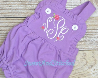 f3ee132787816 Monogrammed purple baby girl ruffle bubble with rosebuds, girls monogrammed  outfit, summer outfit, girls easter outfit, baby girl romper