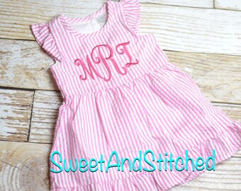 b1acc9ea8091 Monogrammed Seersucker dress, pink toddler dress, baby girl easter dress  personalized, toddler beach outfit, Summer outfit, Baby Girl Beach