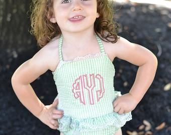 00a3939f7d9d0 Girls Monogrammed Seersucker Swimsuits